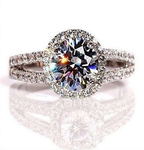 2 Carats VVS1 Diamond Engagement Ring in 18K Gold Over Silver