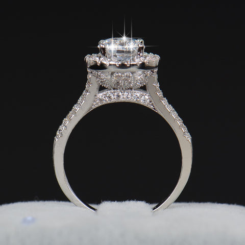 2 Carats Simulated Halo Cut Diamond -  Elegant Women Engagement /Promise Ring on 925 Pure Sterling Silver