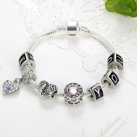 fashion large i charm women beads antique mother s silver girlfriend love valentines you bracelet gift valentine ideal abigail heart day crystal products for diy