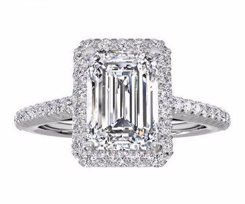 2 Carats Emerald Cut with Man Made Diamond Engagement Ring for Women