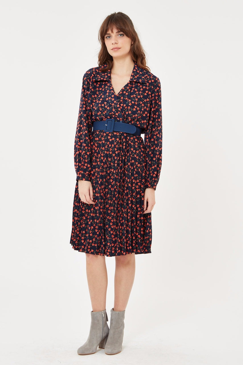 Floral Pleated Dress with Belt in Navy Blue