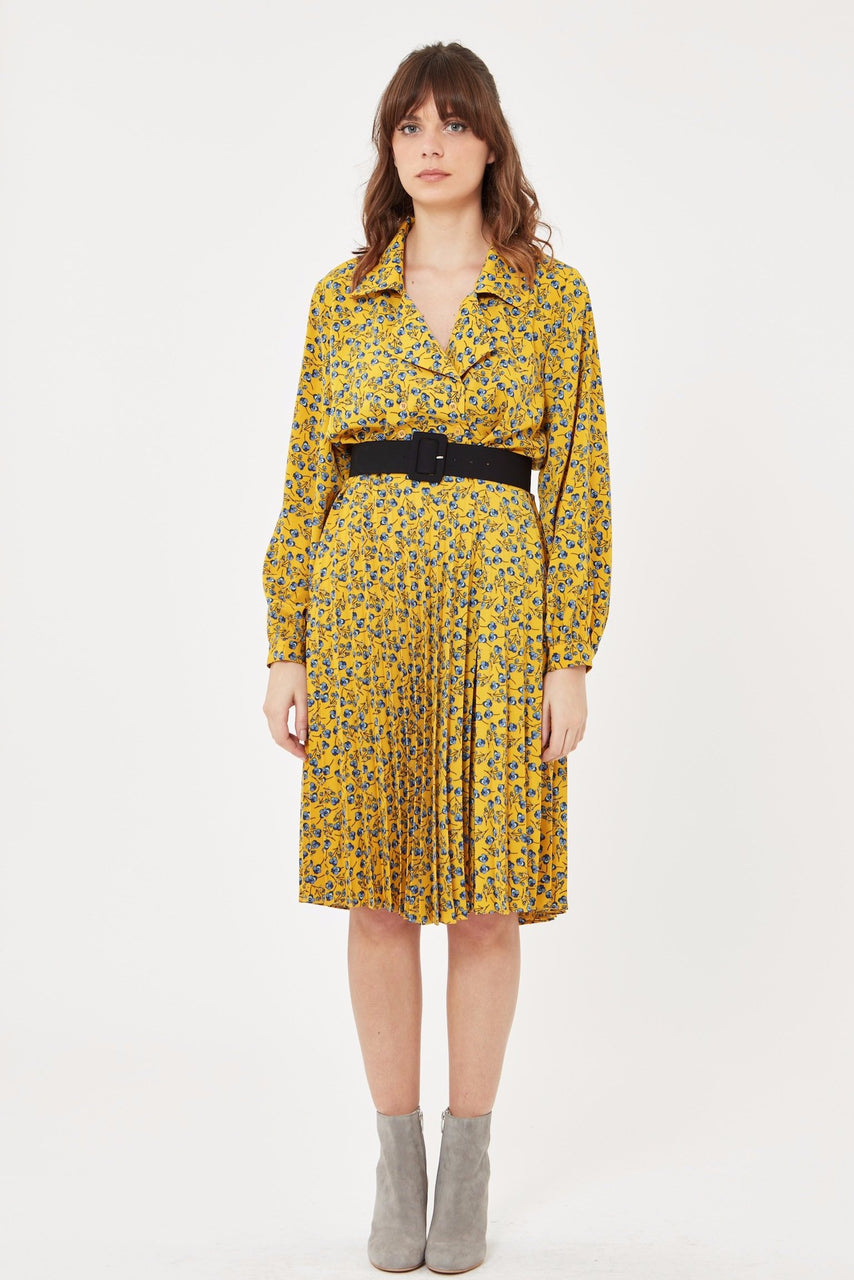 Floral Pleated Dress with Belt in Mustard Yellow