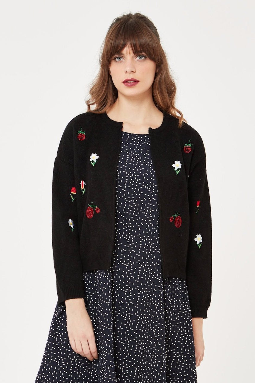 Open Knit cardigan with floral embroidery in Black
