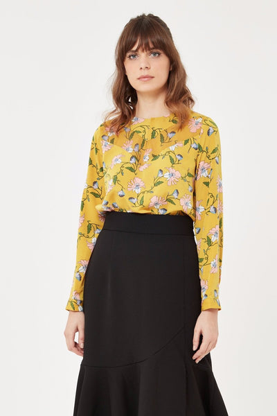 Long Sleeve Floral Blouse in Mustard Yellow