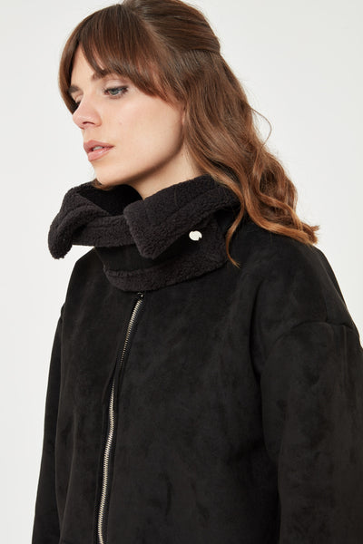 Black Faux Suede Shearling jacket