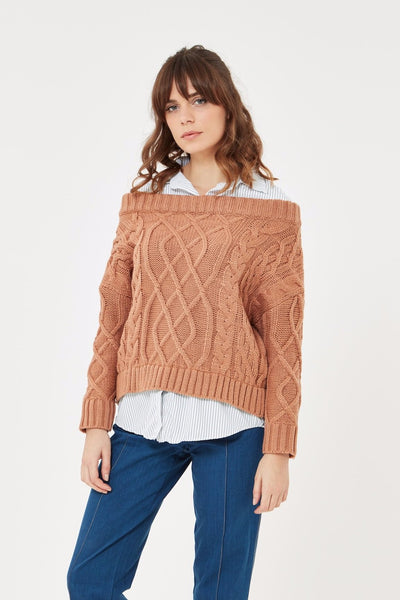 Cable Knit Jumper with faux shirt attached under