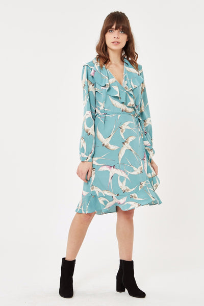 Wrap Dress in Bird Print - Mint Blue
