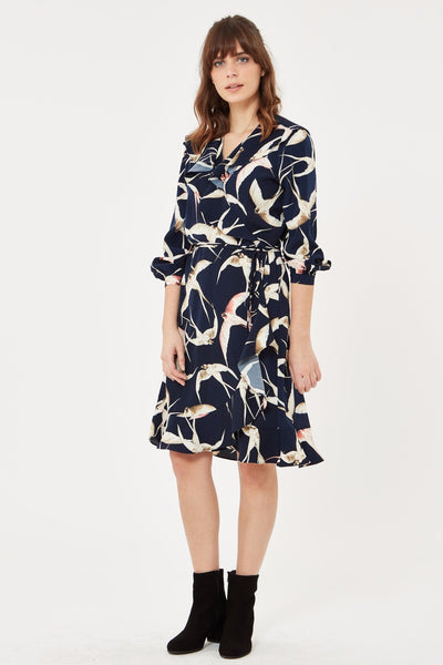 Wrap Dress in Bird Print - Navy Blue