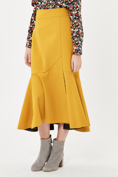 Flared Hem Midi Skirt
