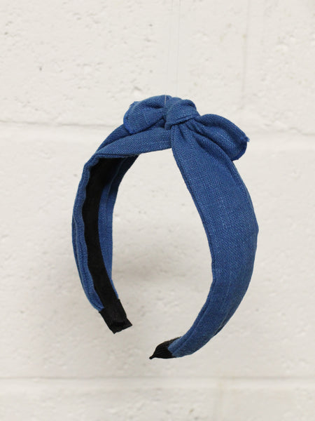 Linen Bow Wide Headband- Blue