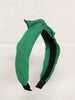 Linen Bow Wide Headband- Green