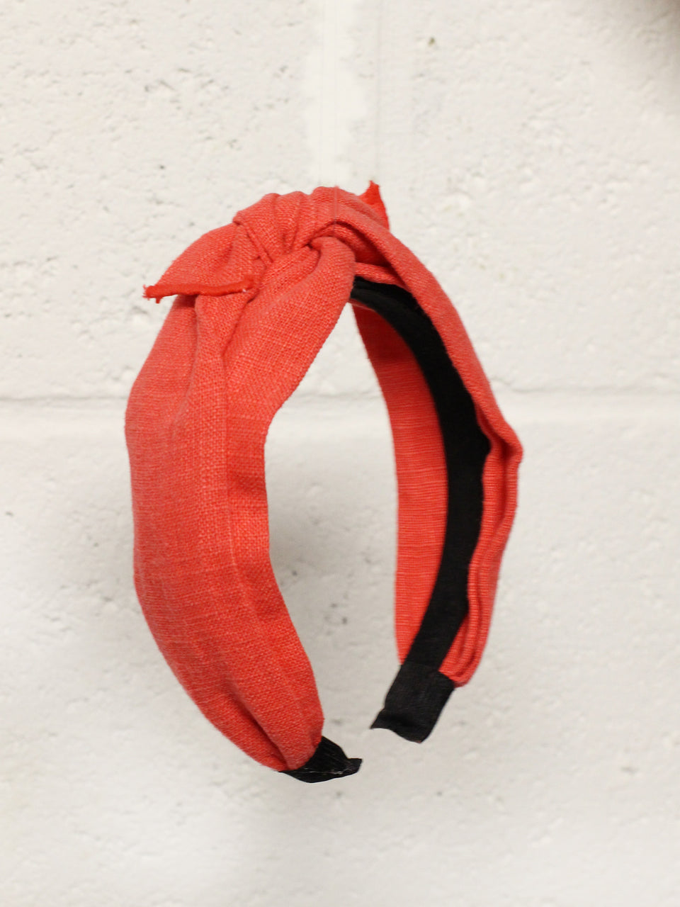 Linen Bow Wide Headband- Red
