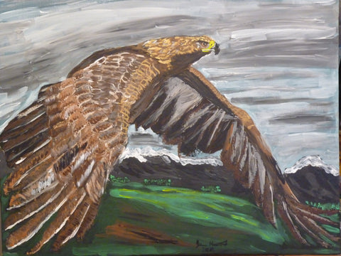 Golden Eagle original painting, thanks to Spring Watch.