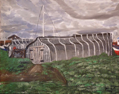 Holy Island Upside Down Boat House, original artwork