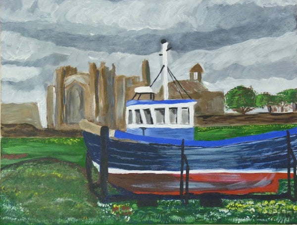 Holy Island Boat, original artwork