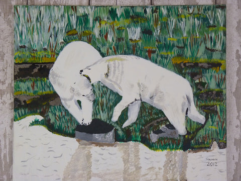 Playing Polar Bears. Original Painting
