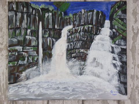 High Force Waterfall. Original painting