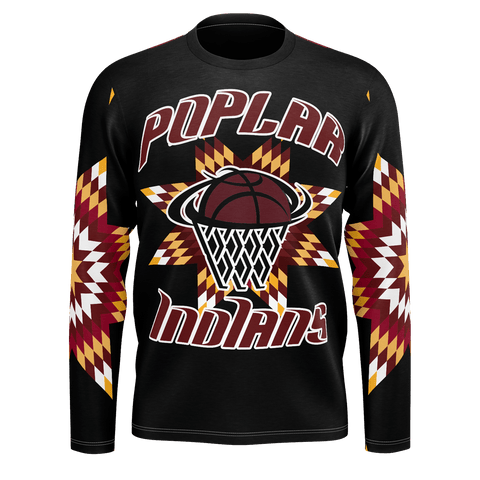 Poplar Indians Long Sleeve Star Tee