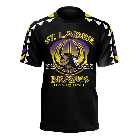 St. Labre Braves Black Tee New Tribal Sleeve