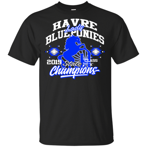 Havre Lady Blue Ponies State Champions Gildan Youth Ultra Cotton T-Shirt