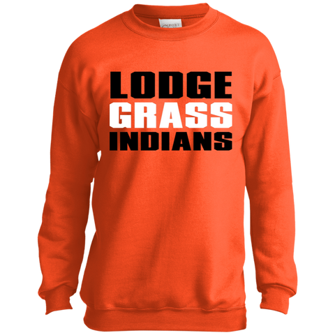 Lodge Grass Indians Port and Co. Youth Crewneck Sweatshirt