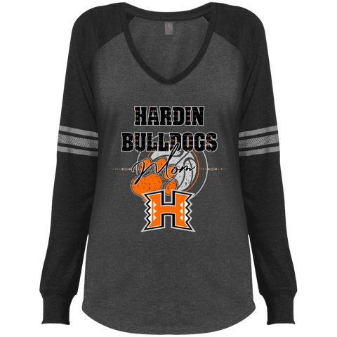 Hardin Bulldogs Mom Ladies' Game LS V-Neck T-Shirt
