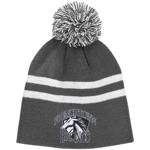 Frenchtown Broncs Team 365 Striped Pom Beanie