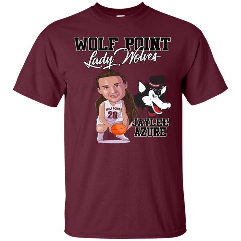 Wolf Point Wolves Caricature Jaylee Azure Gildan Ultra Cotton T-Shirt