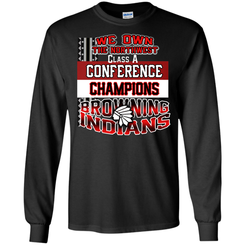 Browning Running Indians Conference Champs Gildan LS Ultra Cotton T-Shirt