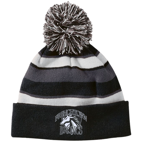 Frenchtown Broncs Holloway Striped Beanie with Pom