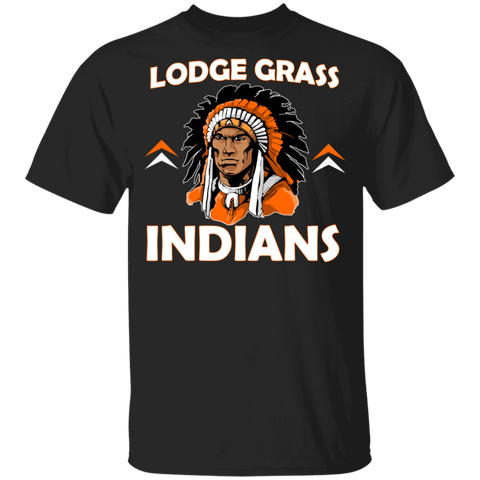 Lodge Grass Indians New Gildan Youth 5.3 oz 100% Cotton T-Shirt