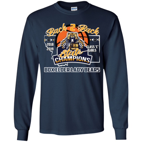 Box Elder Lady Bears Back to Back State Champs w/Roster Gildan Youth LS T-Shirt