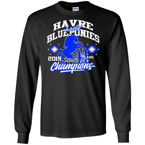 Havre Lady Blue PoniesState Champions Gildan LS Ultra Cotton T-Shirt