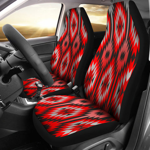 Red Gray Native Pattern Car Seat Covers