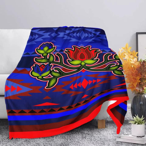 Blue/Red Native Print Floral Blanket