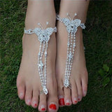 Bridal Crystal Beach Barefoot Sandals Foot Toe Anklet Bracelet Women Ankle Jewelry