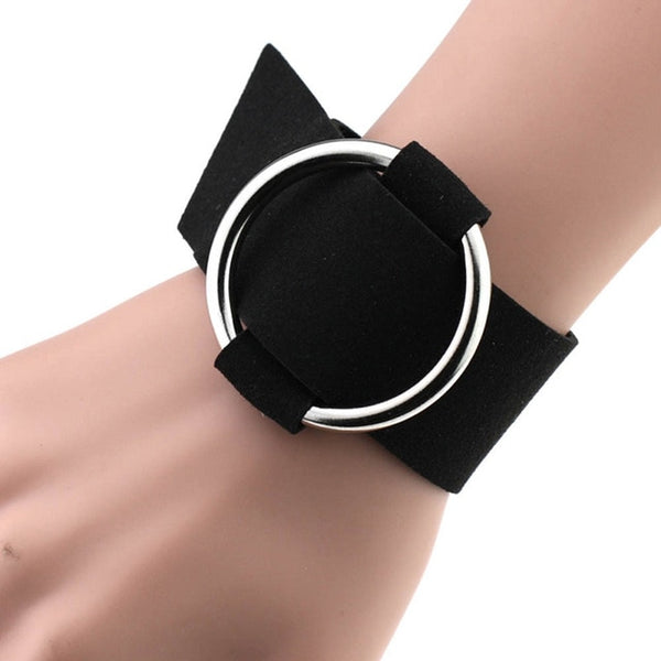 Women All-match Circular Ring Bracelet Wristband Flannel Metal Round Buckle Jewelry