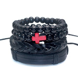 Black Out Bamboo Wood Lava Stone Beads Stone Skull Pull-Closure Leather Men Bracelet