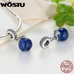 Real 925 Sterling Silver Moon Star Blue Crystal Original Pandora Bracelet Pendant Jewelry