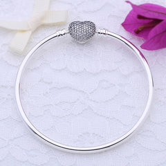 Real 925 Sterling Silver Love Heart Bracelets Bangle Fit Original Charm Beads Women Jewelry Gift
