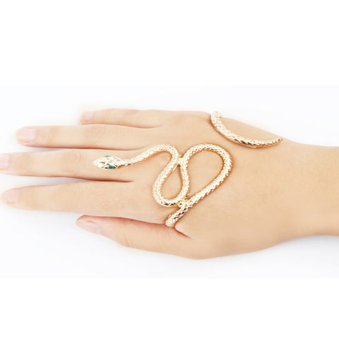 Unique Unisex Punk Retro Snake Shape Hand Palm Bracelet Bangle Cuff Ring Jewelry