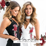 V Neck Rose Floral Embroidery Playsuits Sleeveless Rompers Jumpsuits Casual Beach Overall