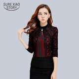 Autumn Winter Lace Blouse Long Sleeve Slim Body Floral Lace Shirt Women Tops Elegant Lace Top