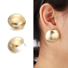 Famous Brand Big Large Brushed Round Statement Stud Earrings Women Gold Color Jewelry