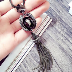Women All-match Chain Necklace Tassel Long Cross Pendant Necklace Accessories