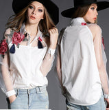 Elegant Flower Embroidery Organza Shirt Camise Casual Women Blouses Tops