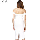 White Black Red Beige Off Shoulder Bodycon Women Strapless Knee-length Evening Party Bandage Dress