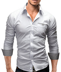 Camisa Men Clothing Shirt Casual Long Sleeved Chemise Slim Hombre Shirts