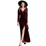 Autumn Winter Evening Party Dresses Red Velvet Women Vintage High Split Long Maxi Dresses