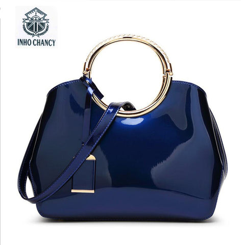 Zipper Inho Chancy Women Leather Handbag Famous Brands Bright Messenger Bag Wild Shoulder
